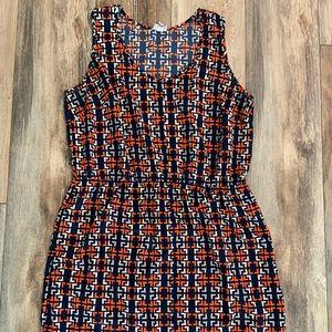 Orange blue white Easter dress